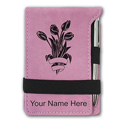 Mini Notepad, Tulips, Personalized Engraving Included (Pink)