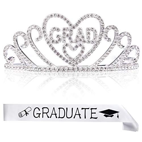 FEPITO 1Pcs Graduation Princess Grad Tiara and 1pcs Graduated Sash for Grad Party Gift Idea Graduation Party Decorations