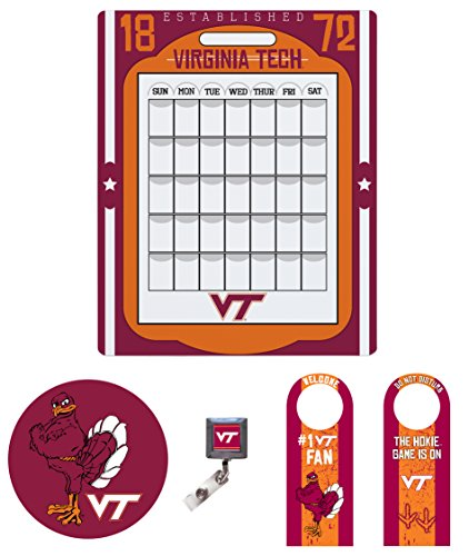 "Virginia Tech Hokies Dorm Pack of Two Sided Door Hanger, 16"" x 20"" Peel And Stick Calendar, Peel and stick Mouse Pad, and Retractable Badge Holder"