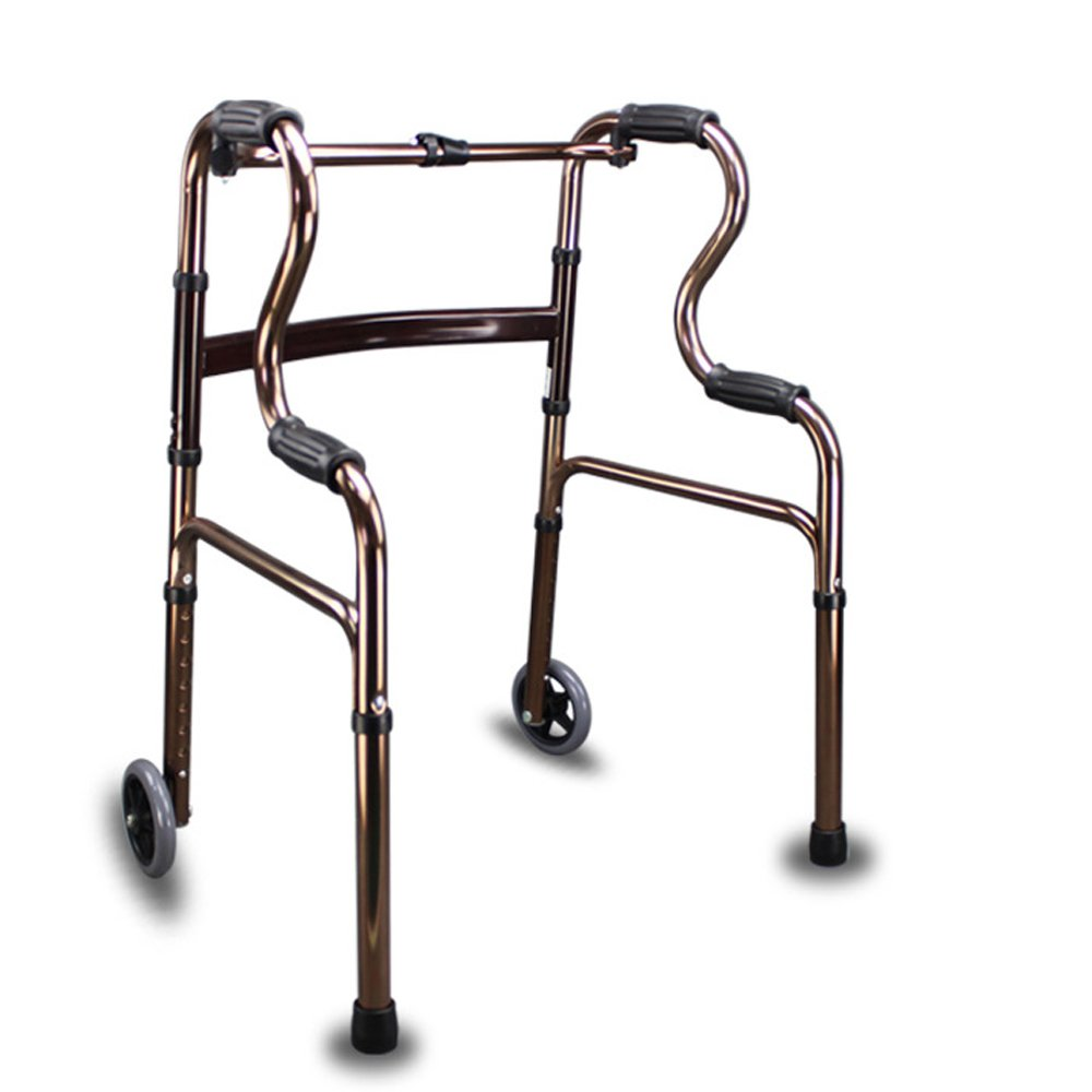 Active Authority Lightweight Aluminum Adjustable Folding Walker with Wheels, up to 385lbs, Coffee
