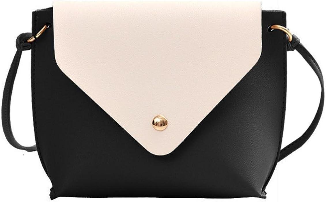ea3833e8def MaxFox Leather Girl Shoulder Bag Women Split Joint Travel Crossbody Bag ( Black)