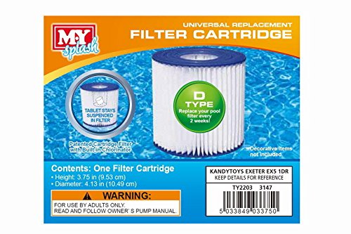 1 x My Splash Type D Filter Cartridge Swimming Pool Kandy Toys