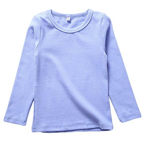 KISBINI Toddler Girls Long Sleeve Cotton Tees Kids T-Shirt Tops Light Purple (Jersey Long Sleeve Long Underwear)