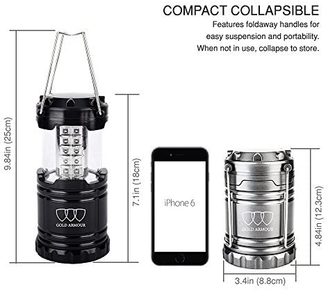 Power Outage Great Gold Armour 4 Pack LED Camping Lantern Portable Flashlight with 12 aa Batteries Survival Kit for Emergency Hurricane