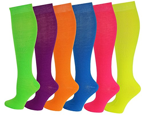 6 Pairs Women's Fancy Design Multi Colorful Patterned Knee High Socks,Neon Solid,Size 9-11 ( Fit women shoe size 4 to 10 )  -