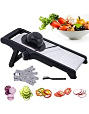 Adjustable Mandoline Food & Vegetables Slicer, Stainless Steel Cutter for Kitchen Onion Cabbage Zucchini Potato with Brush & Cut-Resistant Gloves