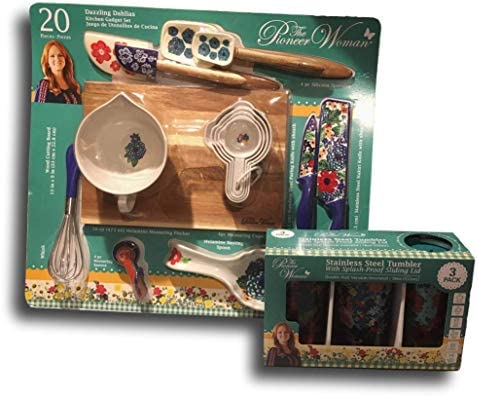 Pioneer Woman Utensil Set Dazzling Dahlias 20 Piece Kitchen Gadget Set And 3 Pack Tumbler Gift Set Amazon Sg Home