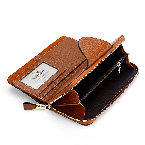 Yafeige Large Luxury Women's RFID Blocking Tri-fold Leather Wallet Zipper Ladies Clutch Purse(Brown1) by Yafeige (Image #5)