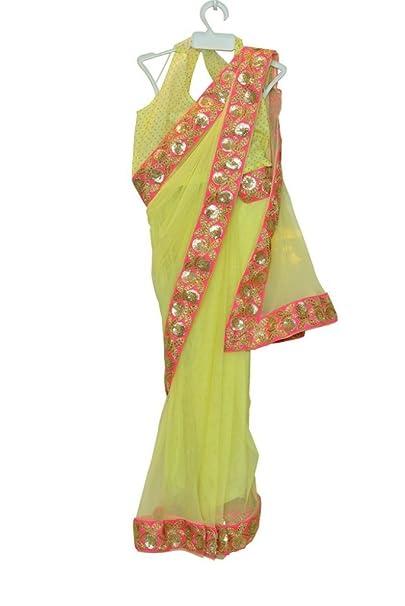 Little Emporio Diseñador blusa de Sari de la niña del vestido amarillo del partido étnico