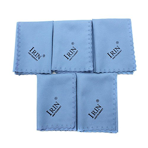 ammoon 5pcs Microfiber Cleaning Polishing Polish Cloth for Musical Instrument Guitar Violin Piano Clarinet Trumpet Sax Universal