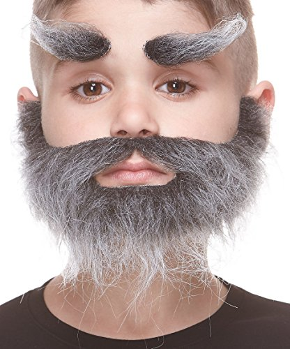 Mustaches Fake Beard and Eyebrows, Self Adhesive, Novelty, Small, Realistic Traper False Facial Hair, Costume Accessory for Kids, Salt and Pepper Color -