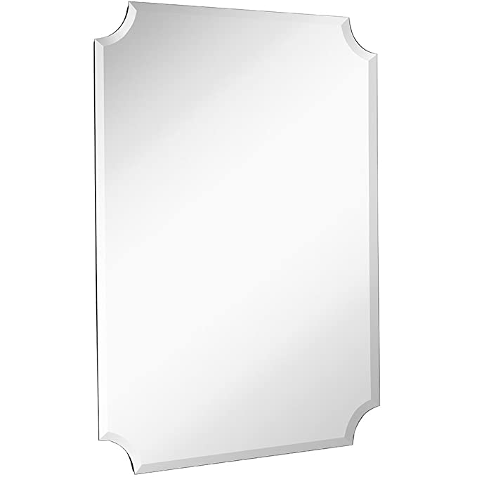 Large Beveled Scalloped Edge Rectangular Wall Mirror | 1 inch Bevel Curved Corners Rectangle Mirrored Glass Panel for Vanity, Bedroom, or Bathroom Hangs Horizontal & Vertical Frameless (30