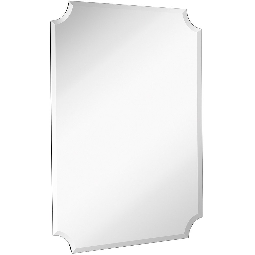 Large Beveled Scalloped Edge Rectangular Wall Mirror | 1 inch Bevel Curved Corners Rectangle Mirrored Glass Panel for Vanity, Bedroom, or Bathroom Hangs Horizontal & Vertical Frameless (30'' x 40'')