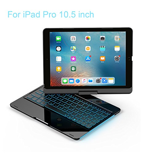 (iPad Keyboard Case 10.5 Pro / 360 Degree Rotatable/Aluminum Shell Folio Case / 7 Color Backlit/Bluetooth Keyboard/Auto Sleep-Wake for 2017 Apple iPad Pro 10.5/ (Black))