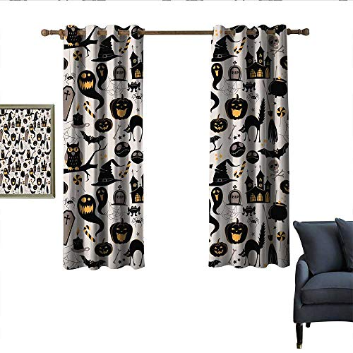 longbuyer Vintage Halloween Thermal Insulated Drapes for Kitchen/Bedroom Halloween Cartoon Jack o Lantern Tombstone Skulls and Bones Wear Rod 63