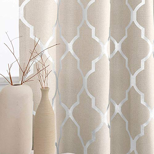 jinchan Linen Textured Curtains for Living Room Darkening Drapes Foil Moroccan Tile Print Curtains for Bedroom Window Treatment Set 63 inch Long One Panel Silver