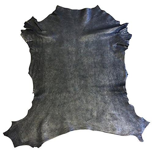 Genuine Blue Leather Hides - Quality Soft Lambskin - Metallic Rustic Finish - Spanish Full Skins - 5 sq ft - 2 oz. avg Thickness - Craft DIY Material - Upholstery Fabric - Wholesale Supply