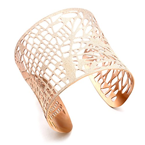 Stainless Steel Wide Cuff Flowers Floral Design Glitter Open End Wide Cuff Bangle Bracelet (Rose Gold) (Bracelet Ball Glitter)