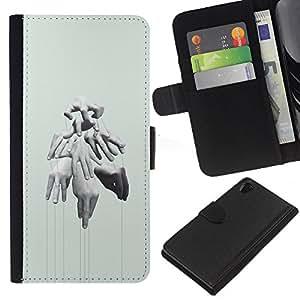 EJOY---La carpeta del tirón la caja de cuero de alta calidad de la PU Caso protector / Sony Xperia Z2 D6502 / --Manos Puppet Master Profundo Significado