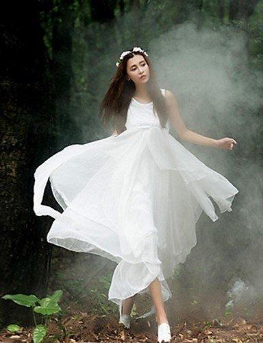 PU&PU Robe Aux femmes Swing Vintage / Street Chic,Couleur Pleine Col Arrondi Maxi Soie , white-m , white-m