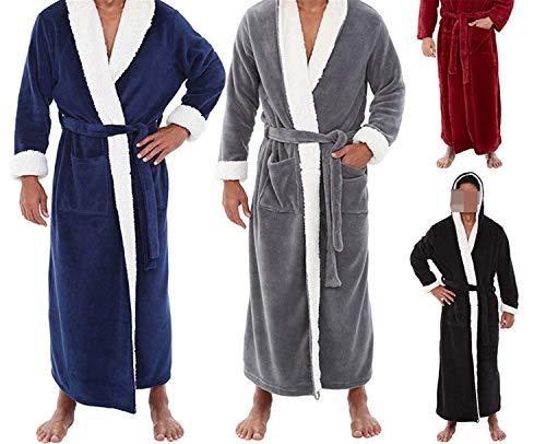 Uomo Size Maniche Accappatoio Coat Inverno Solid Notte Large pt Da A Plush Camicia Robe Vestiti Black Home Lunghe Allungato Scialle Caldo xZnUU4wqX