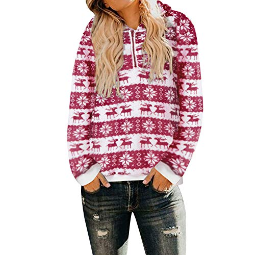 clearance sale!!ZEFOTIM Women Christmas Hooded Sweatshirt Coat Winter Warm Wool Zipper Pockets Outwear(Small,Red) ()