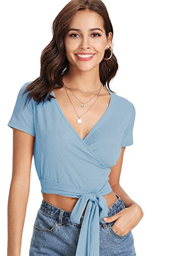 ROMWE Women's Sexy Deep V Neck Surplice Knot Front Wrap Tee Short Sleeve Solid Crop Top Blue S ()