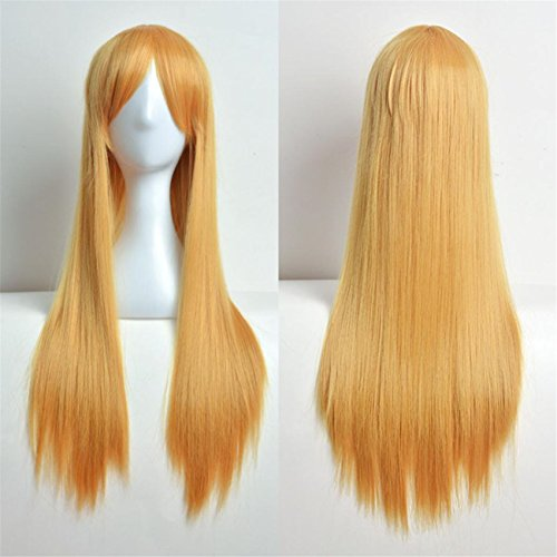 Touch Of Romance Halloween Costumes (ABASSKY 80cm Full Wig Long Straight Wig Cosplay Party Costume Hair (Yellow))