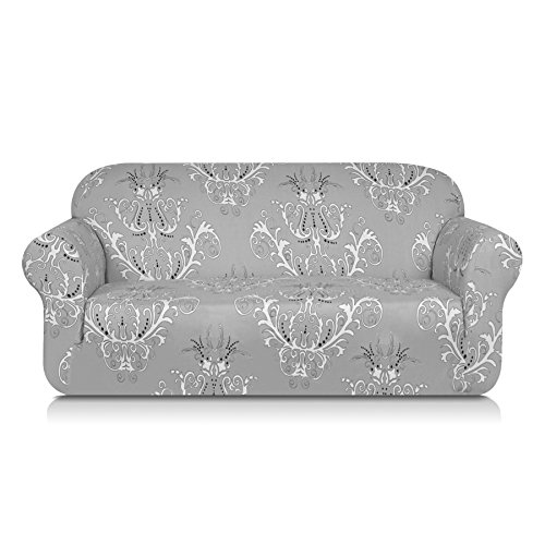 - TIKAMI Printed Floral Sofa Slipcovers Stretch Spandex Couch Covers Anti-Slip Furniture Protector for Living Room(Sofa, Gray)