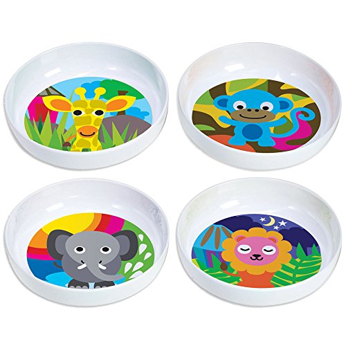 French Bull Kids Bowl Set of 4 - BPA-Free, Cereal, Animals, Toddler, Durable, Drop Resistant - Jungle (Childrens Melamine Dish Sets)