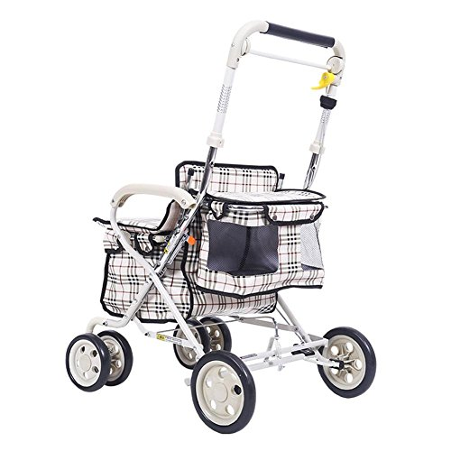 LUCKYYAN Trolley with Seat, Grey Foldable Shopping Grocery Cart whit Flexible Wheels and Brakes
