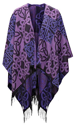 Irish Celtic Fringed Purple Shawl by Jimmy Hourihan by The Irish Store - Irish Gifts from Ireland