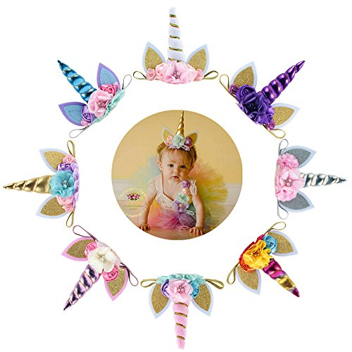 Nishine Baby Elastic Glitter Unicorn Horn Headband Children Unicorn Party Supplies Cosplay Gift