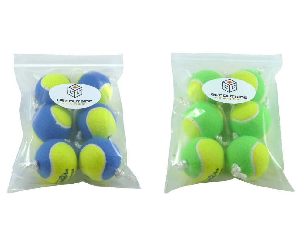 Get Outside Games Texas Toss Ball Kit - Tennis Balls for Ladder Toss/Ladder Golf/Hillbilly Golf (Blue & Green Ball Kit)