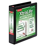 Cardinal XtraLife 3-Ring Binder, 1.5'', Locking Slant-D Rings, ClearVue Presentation Binder, Holds 375 Sheets, PVC-Free, Black (26311)