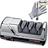Chef'sChoice Diamond Hone EdgeSelect Knife Sharpener Model 120 & Pair of Zonoz Cut-Resistant Gloves Bundle (Chrome)