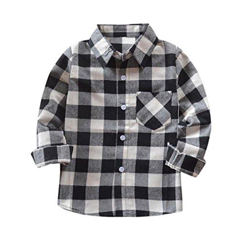 Sateen Oxford (Malada Kids Boys Girls Long Sleeve Cotton T Shirt Checks Tops Blouse Clothes Outfits (Black, 6T))