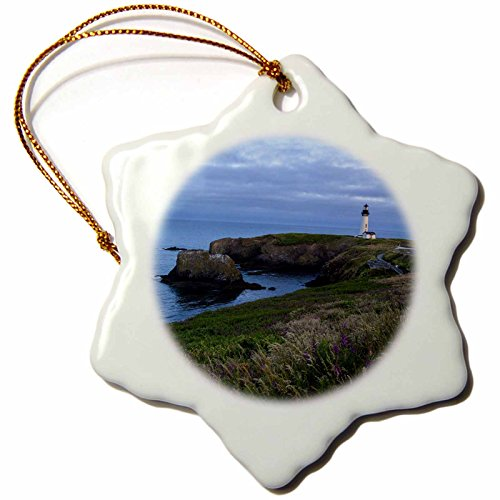 (3dRose ORN_146047_1 Yaquina Head Lighthouse, Newport, Oregon, USA Us38 Rbr0467 Rick a Brown Snowflake Ornament, Porcelain,)