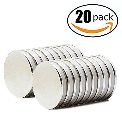 HTCARE Powerful Neodymium Disc Magnets, Strong, Permanent, Rare Earth Magnets. Fridge, DIY, Scientific, Craft, and Office Magnets - 1.26 D x 0.08 H, Pack of 20
