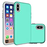 iPhone X Case,Berry (TM) [Non-slip] [Drop Protection] [Shock Proof] [Dual Lawyer] Hybrid Defender Armor Full Body Protective Rugged Holster Case Cover for iPhone X 2017 Mint Green