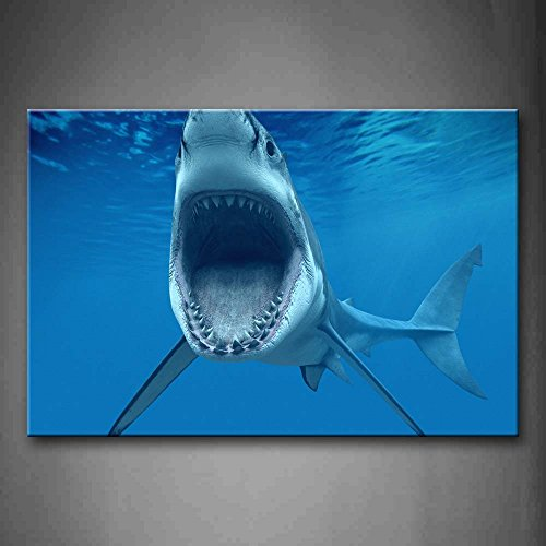 First Wall Art - Big Shark Near Sea Surface Open Mouth In Blue Sea Wall Art Painting The Picture Print On Canvas Animal Pictures For Home Decor Decoration Gift