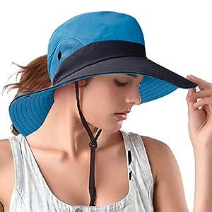 Ponytail Sun Bucket Hats for Women UV Protection Foldable Mesh Wide Brim Hiking Beach Fishing Summer Safari