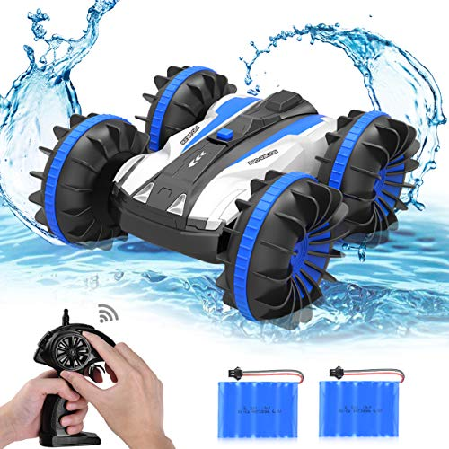 (allcaca Waterproof Remote Control Car Boat - 2.4Ghz All Terrain RC Cars - 1/18 Scale Double Sides Stunt Vehicle with 360 Degree Spins and Flips Blue)