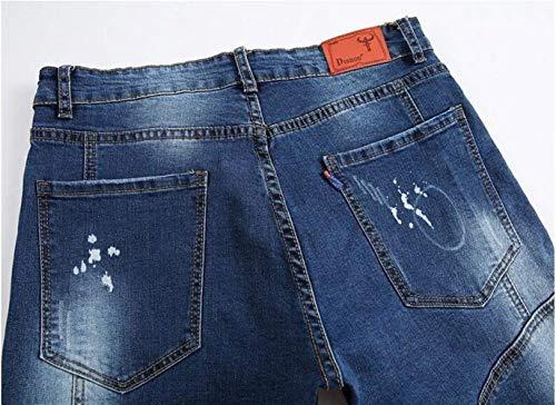 del La Los Rectos Pantalones Diseñador Pintada del Vaqueros De Los Pantalones Transpir De Moda De Delgados De Algodón del Pantalones Hombres Jóvenes Clásico Bordado Ocasionales Chicos La Blau De Estilo Aqtw7F