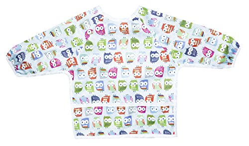Pikababy Long Sleeved Bib Waterproof Bibs with pocket - 6 to 24 months baby girl and boy colors (OWLS)