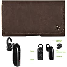 "SumacLife Matte Brown Cell Phone Holster Pouch w/ BlueTooth Headset for Alcatel Smartphones 5.5"" - 6.25in"