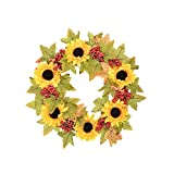 FAVOWREATH Vitality Series FAVO-W62 Handmade 11 inch Yellow Artificial Sunflowers Red Berry Dry Branch Wreath For Spring/Summer/Fall Front Door/Wall/Fireplace Floral Hanger Home Welcome Decor