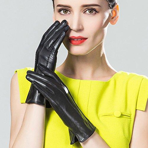 CASF Women's Driving Winter Genuine Lambskin Leather Gloves For Women Black XL