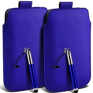 LG L90 Protección Premium de cuero de la PU ficha de extracción Slip Cord En la cubierta de la caja del filtro del bolsillo de la Piel y Mini capacitiva lápiz óptico retráctil Azul (Twin Pack) por Spyrox