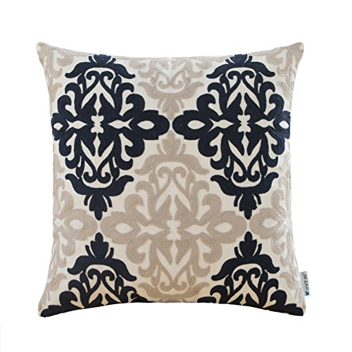 Floral Bed Pillow - HWY 50 Cotton Embroidered Decorative Throw Pillow Covers Couch Sofa Bed 18 x 18 inch, 1 Pc Navy Blue Grey Throw Pillows Cases, Euro Farmhouse Decor Floral Cushion Covers